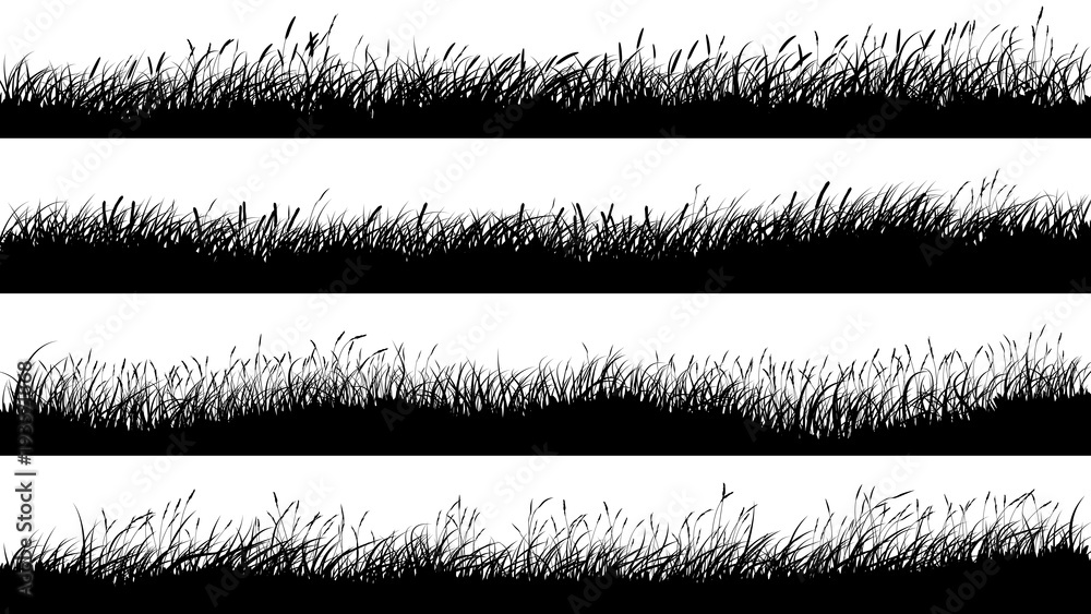 Fototapety, obrazy: Horizontal banners of meadow silhouettes with grass.