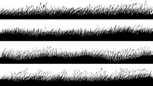Horizontal Banners Of Meadow Silhouettes With Grass.