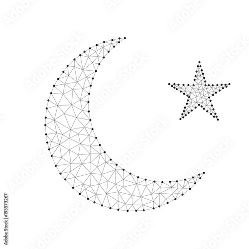 polygonal gold crescent moon star black white buy this stock vector and explore similar vectors at adobe stock adobe stock polygonal gold crescent moon star