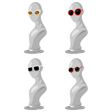 Fashion Sunglasses On A Mannequin. Vector Set Of Glasses Of Different Shapes And Colors Isolated On White Background.