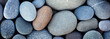 canvas print picture - Web banner abstract smooth round pebbles sea texture background