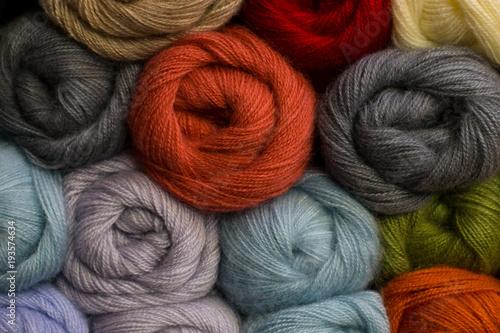 Fototapeta Knitting yarn for handmade winter clothes