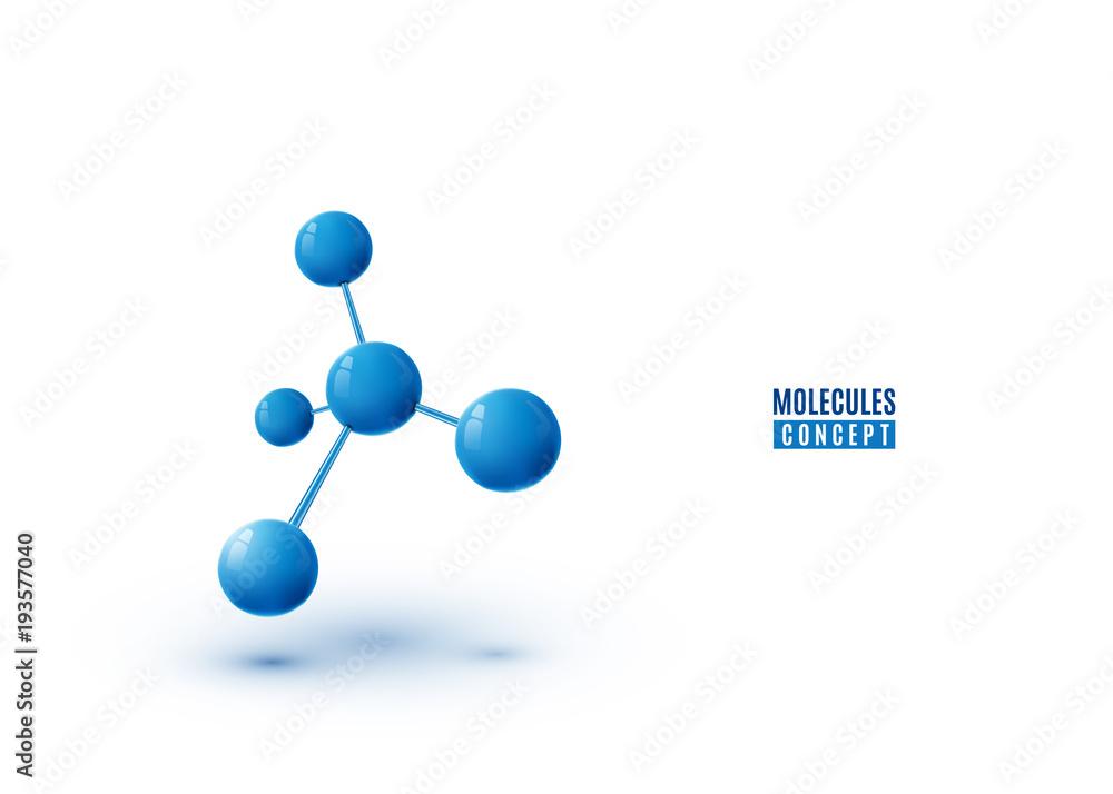 Fototapeta Molecule design isolated on white background. Atoms. 3d molecular structure