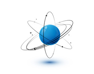 Atom with blue core, orbits and electrons isolated on white background