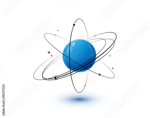 Valokuvatapetti Atom with blue core, orbits and electrons isolated on white background