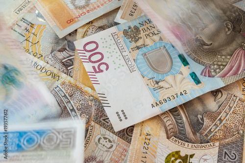 Fotografering  Polish money background, 500 PLN and 200 PLN banknotes