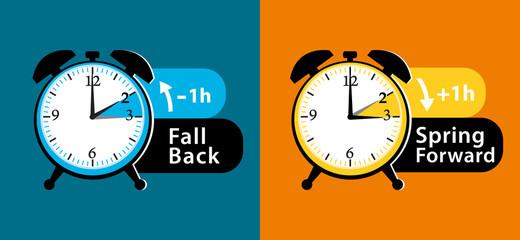 Daylight saving time. Summer fall back and spring forward alarm clocks set. Colorful vector illustration.