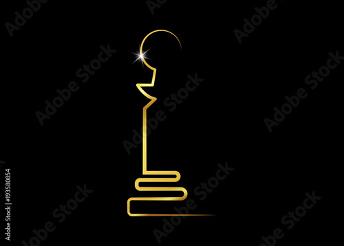 Fotografie, Obraz  Abstract Golden statuette logo icon