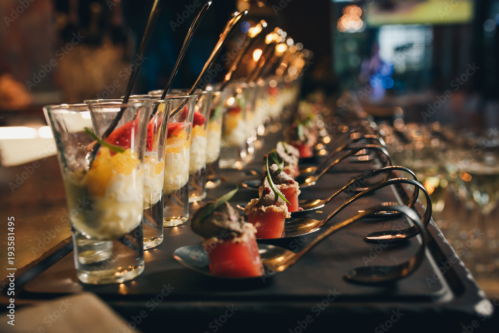 Fototapeta Delicious canapes as event dish