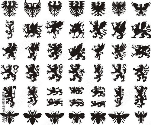 Fotografie, Tablou  Heraldic elements set: eagle, dragon, lion, bee