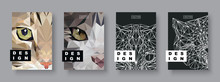 Cats Abstract Covers Set. Future Poster Template. Concept Geometric Pet Animal. Polygonal Halftone. Cat Face Silhouette