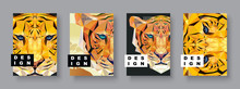 Tiger Abstract Covers Set. Car...