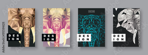 Elephant covers set. Future Poster template. Geometric animal. Polygonal halftone. Elephant silhouette illustration.