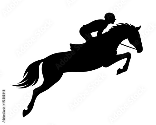 Cuadros en Lienzo Horse jumping on a white background
