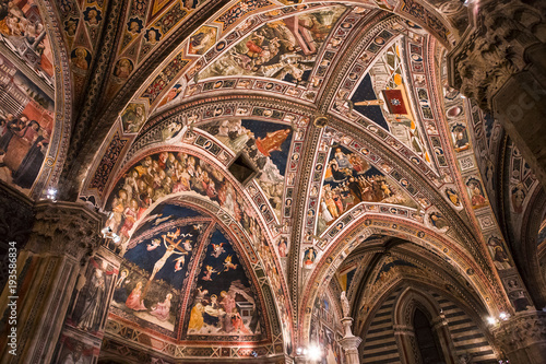 Canvas Prints Krakow interiors and decors of the baptistery, Siena, Italy