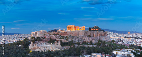 Aerial view of the Acropolis Hill, crowned with Parthenon, above of the city sky Canvas Print