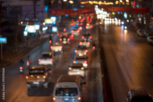 Fototapety, obrazy: Night traffic jam with colorful bokeh,blur focus.