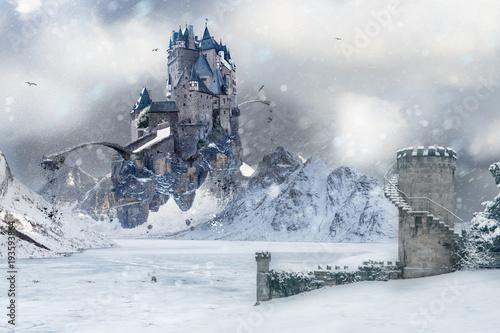 Naklejki do przedszkola  a-flying-castle-in-icy-northland
