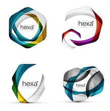 Vector Swirl Hexagon Set, Geom...