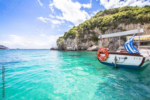 Recess Fitting Blue Paleokastritsa bay on Corfu, Greece