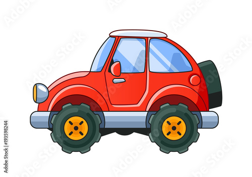 Staande foto Cartoon cars Red Cartoon Car Side View Isolated on White Background. Colored Illustration.