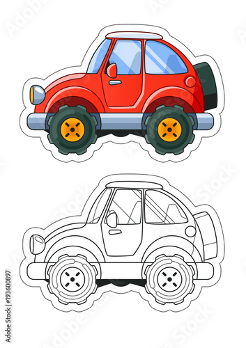 Staande foto Cartoon cars Red Cartoon Car Side View Coloring Book. Colored Version + Line Art.