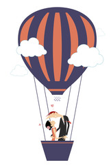Love couple fly up on the air balloon isolated illustration. Love couple with joining hands fly up on the air balloon isolated on white illustration