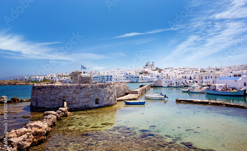 Travel Greece: Picturesque Naousa village, Paros island, Cyclades, Greece Wallpaper Mural