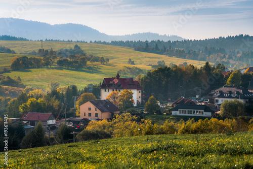 Fototapeta Lutowiska, wieś w Bieszczadach obraz