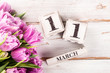 Wooden Block with Mothers Day Date, 11 March