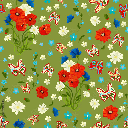 Foto op Canvas Lieveheersbeestjes Seamless texture. Multicolor pattern of butterflies, flowers and leaves