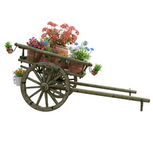 Wooden Cart And Flowers Pots