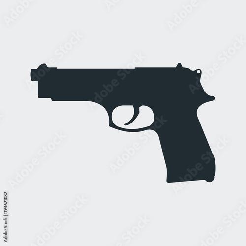 Photo Icono plano silueta pistola beretta en fondo gris