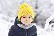 Cheerful Kid Smiling In Winter...