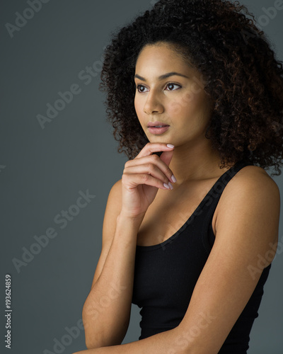 Beautiful Woman with Her Hair Down and Natural Look Cosmetics