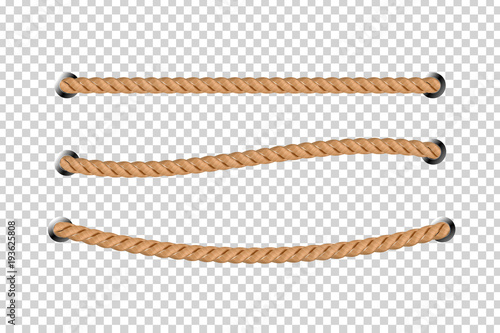 Vászonkép Vector realistic isolated rope for decoration and covering on the transparent background