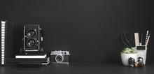 Photographer Or Artist Workspace On Black Background.