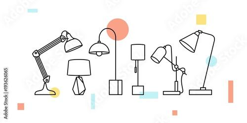 Obraz desk table lamp vector illustration icon outline line art decor interior - fototapety do salonu