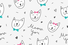 Cats In Love, Vector Seamless ...