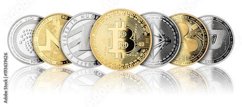 crypto currency coin panorama gold silver bitcoin ethereum monero litecoin dash Canvas Print