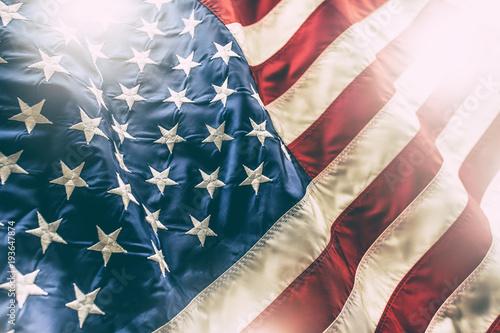 Fototapeta USA flag. American flag. American flag blowing in the wind obraz