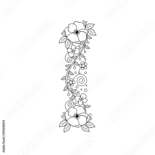 Floral alphabet letter I coloring book for adults. vector ...
