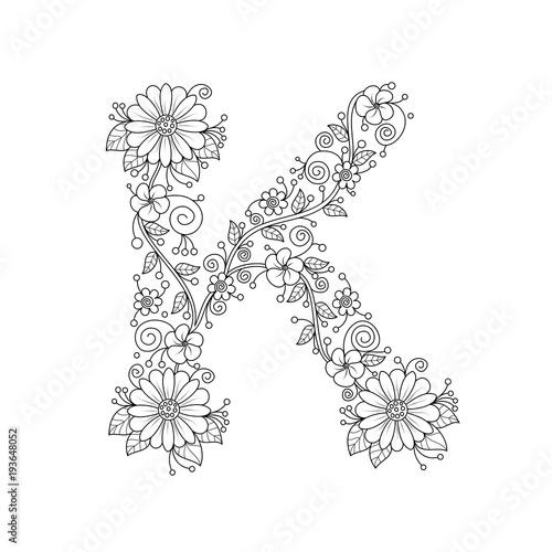 Floral Alphabet Letter K Coloring Book For Adults Vector IllustrationHand DrawnDoodle