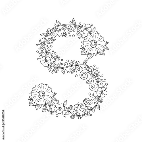 Floral Alphabet Letter S Coloring Book For Adults Vector