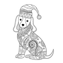 Coloring Book Of Cute Dog For Adult.zentangle Style. Vector Illustration. Handdrawn.