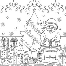 Coloring Book Of Santa Claus With Christmas Tree And Gift For Adult And Kid. Vector Illustration. Doodle Style. Hand Drawn.