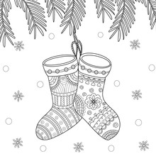 Coloring Book Of Christmas Sock For Adult And Kid. Vector Illustration. Doodle Style. Handdrawn.
