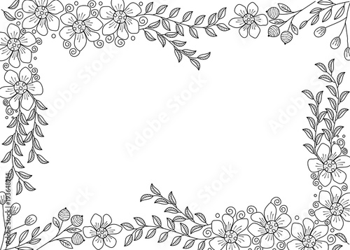 Flower frame coloring book for adult. doodle style.vector ...