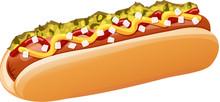 Hot Dog With Relish, Mustard, ...