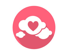 Pink Love Heart Cloud Image Ic...